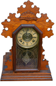 SOLD Ingraham Oak Shelf Gingerbread Mantle Clock