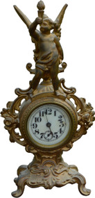 SOLD Victorian Gold Figural Mantle Clock with Cherub