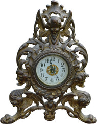 SOLD Victorian Cast Metal Mantle Clock with Devil Heads and Angel