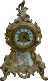 SOLD Victorian Gold Cast Metal Mantle Clock
