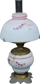 SOLD Victorian Milk Glass Hand Decorated Table Lamp