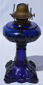 SOLD Antique Blue Stemmed Filigree Pedestal Oil Lamp – Rare