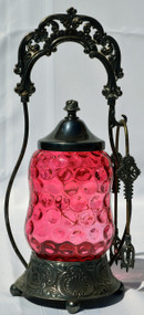 SOLD Victorian Cranberry Pickle Castor with Tongs