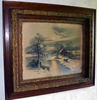 SOLD Victorian Oak Carved Picture Frame w/ Winter Moonlight Scene