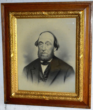 SOLD Oak Carved Picture Frame with Man
