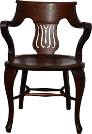 SOLD Oak Fancy Office Arm Chair
