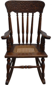 SOLD Oak Carved Original Finish Children's Rocking Chair