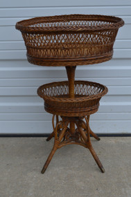 SOLD Unusual Wicker Curlicue Sewing Basket