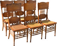 SOLD Set of 6 Fancy Oak Dining Chairs