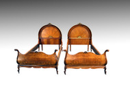 SOLD Pair of Rare Clam Shell Twin Size Beds- Museum Quality