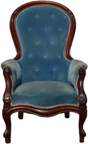 SOLD Victorian Blue Gentleman's Arm Chair