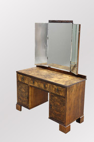 SOLD Antique Burl Walnut Triple-mirror Vanity