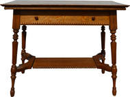 SOLD Oak Fluted Leg Library Table with Drawer