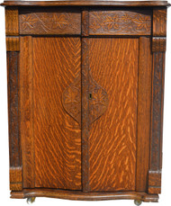 SOLD Oak Turn of the Century Cabinet Bar