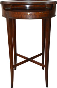 SOLD Unusual Mahogany Leather Top Telephone Stand