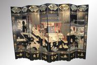 SOLD Antique Black Oriental 8-panel Illustrated Screen Room Divider