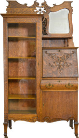 SOLD Oak Bookcase Slant Top Secretary Desk with bevel Mirror