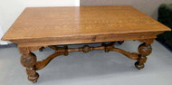 SOLD Oak Carved Library Desk
