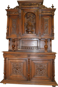 17198 Monumental Carved Walnut Victorian Sideboard