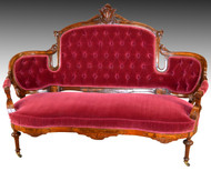 SOLD Victorian Carved Beautiful Burl Walnut Tufted Loveseat