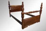 SOLD Antique Art Deco Multi-veneer Full-size Poster Bed