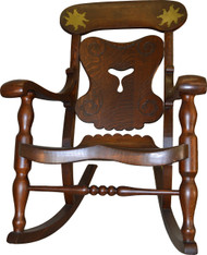 17196 Unusual Tiger Sawn Oversize Oak Man's Rocker