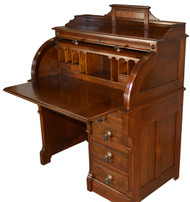 SOLD Victorian Burl Walnut Cylinder Desk - Restored