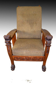 SOLD Victorian Tiger Oak Claw Foot Morris Chair with Heads