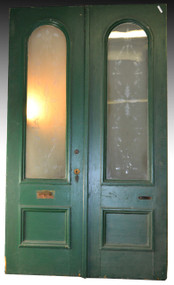 SOLD Pair of Victorian 8 Foot Doors with Acid Etched Glass Original