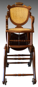 17249 Victorian Children's Walnut Up & Down High Chair - Civil War Era