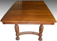 17229 Victorian Walnut Claw Foot Dining Table w/ 2 Leaves