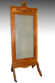 SOLD Oak Antique Cheval Ladies Dressing Mirror