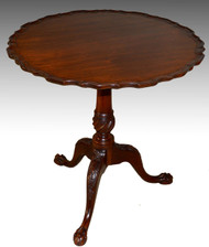 SOLD Custom Chippendale Bird Cage Tilt Top Carved Table