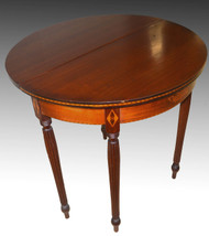 SOLD Mahogany Inlaid Demi Lune Game Table