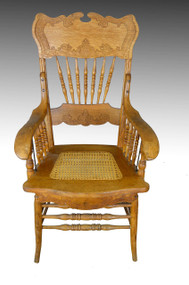SOLD Oak Pressback Office Arm Chair / Banker's Chair