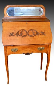 17252 Oak Ladies Slant Top Desk with Mirror by Larkin