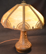 SOLD Caramel Slag Glass Panel Lamp – Handel Type