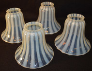 SOLD Set of 4 Rare Opalescent Stipple Ray Lamp Shades