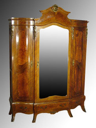 SOLD Antique Brass Ormolu Walnut Wardrobe Armoire