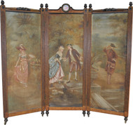 SOLD Victorian Triple Section Folding Bird's Eye Maple Dressing Screen / Room Divider