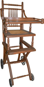 SOLD Antique Oak Children's Up and Down High Chair / Stroller