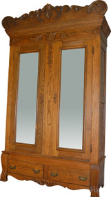 SOLD Oak Carved Bevel Glass Mirror American Wardrobe