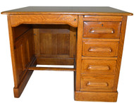 SOLD Oak Raised Panel Flat Top Desk - Restored