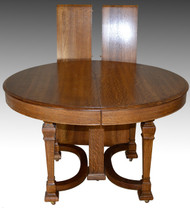 SOLD Round Oak Dining Table w/2 Leaves