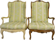 SOLD Pair of French Provincial Carved Wingback Arm Chairs