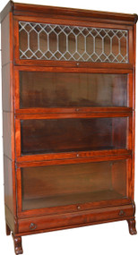 SOLD Mahogany Sectional Leaded Door Bookcase with Drawer