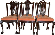 SOLD Set of 6 Mahogany Carved Ball and Claw Chairs by Horner