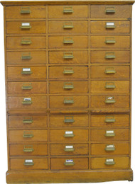 17310 Oak 33 Drawer File Cabinet
