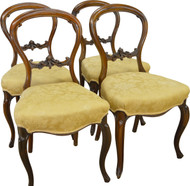 SOLD Set of 4 Rosewood Carved Victorian Chairs