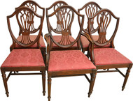 SOLD Set of 6 Mahogany Shield Back Dining Chairs